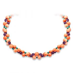 'Lola' Necklace in Coral, Amethyst & Turquoise.