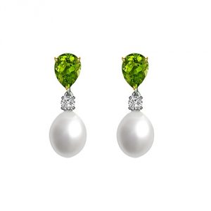 Peridot & Pearl Drop Earrings