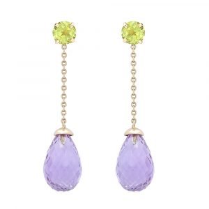 Peridot & amethyst drop earrings