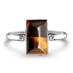 Stunning Tigers Eye Quartz and diamond ring