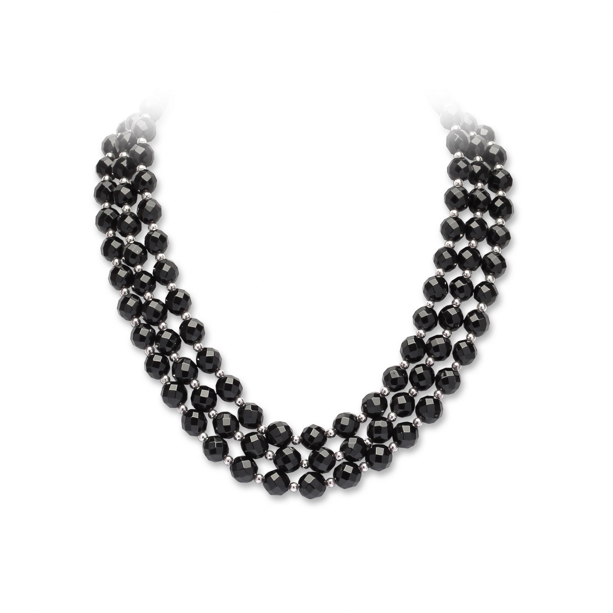 Onyx 3 row necklace