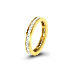 Yellow Gold Princess Cut Diamond EternityRing